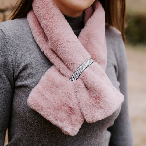 Pink Diamanté Faux Fur Scarf