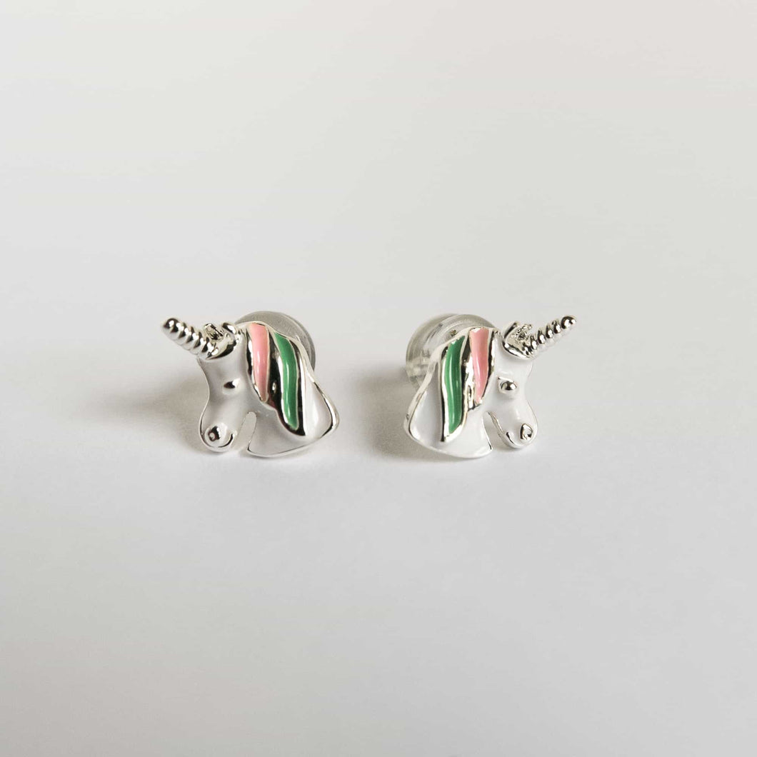 Girls Green Unicorn Earrings