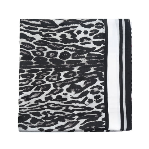 Black and Grey Animal Print and Check Silk Scarf