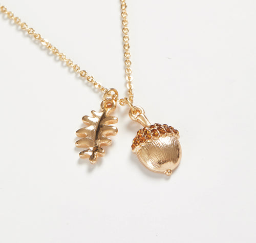 Short Gold Acorn Necklace