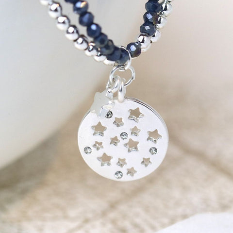 Double layer blue and silver star charm bracelet