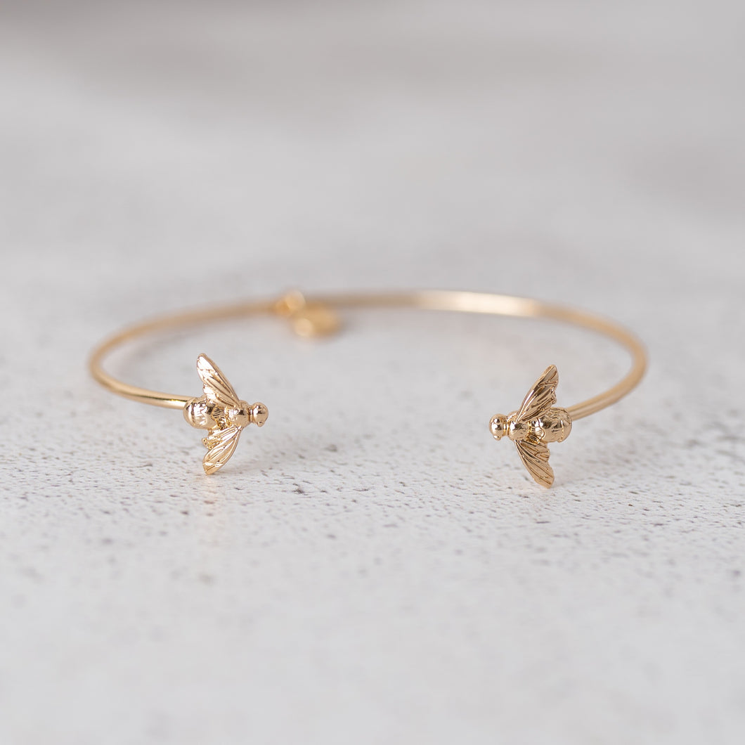 Gold Bee Bangle Bracelet