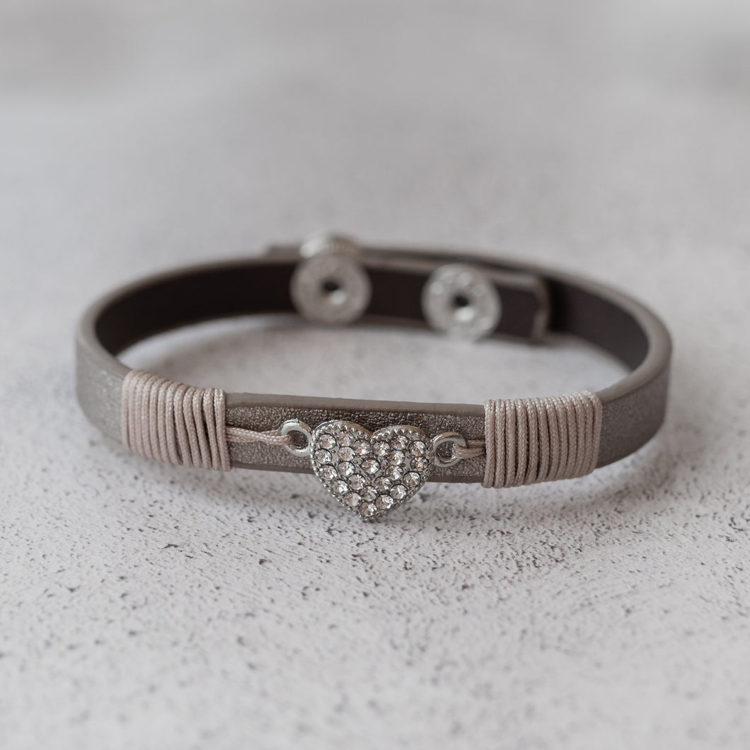 Taupe Diamanté Silver Heart Wrap