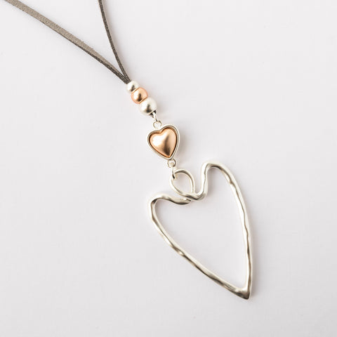 Twisted Double  Silver and Rose Gold Heart Necklace
