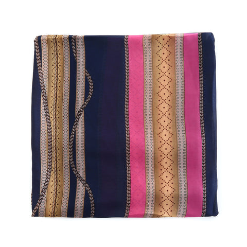 Tassel Design Navy Silk Scarf