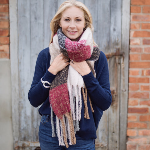 Oversized Winter Fluffy Burgundy and Pink Scarf
