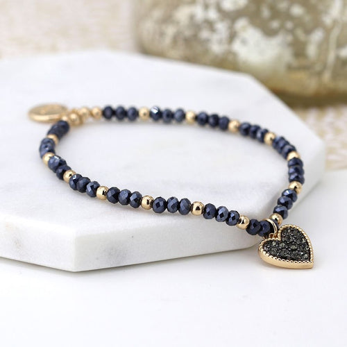 Black and golden bead heart charm bracelet
