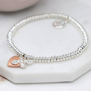 Rose gold heart and bee bracelet