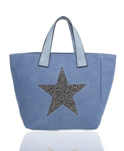 Large Star Tote Bag Denim