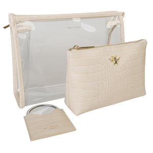 Cream Croc Bee Beauty Bag Set