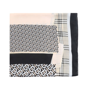Check and Link Black Silk Scarf