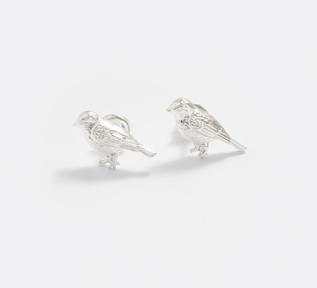 Silver Blue Tit Stud Earrings