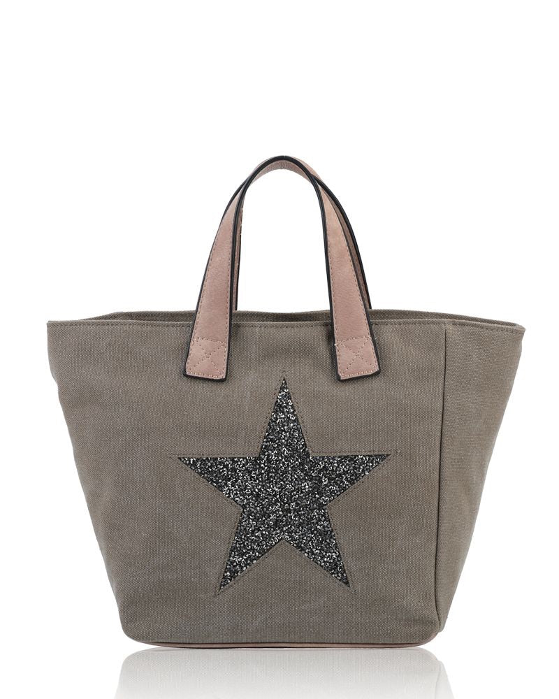 Large Star Tote Bag Khaki