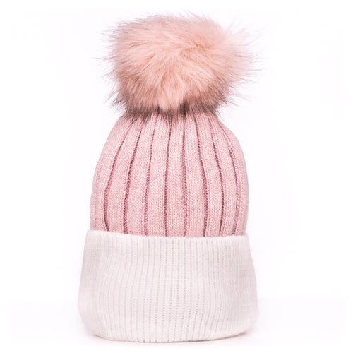 Pom Pom Hat Pink and White