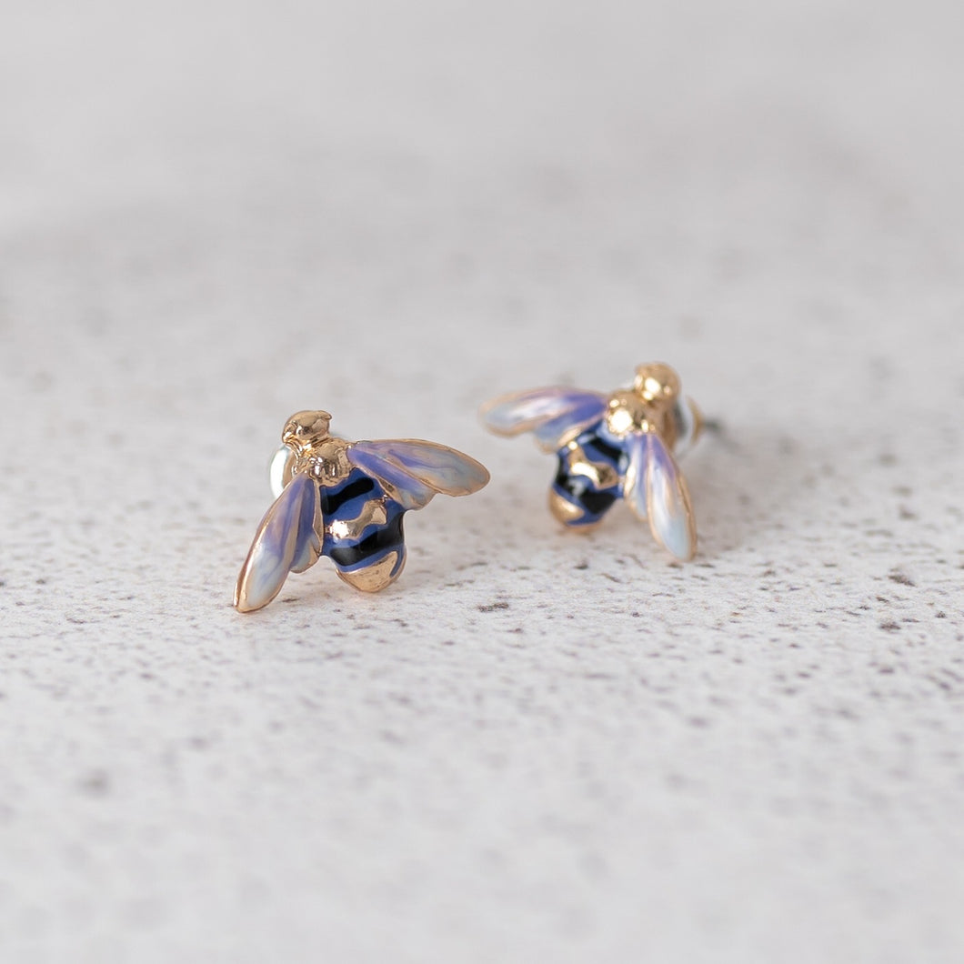 Enamelled Bee Stud Earrings