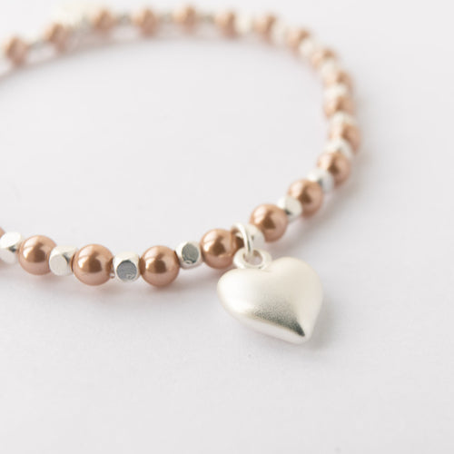 Pink Pearl and Silver Plated Matt Heart Bracelet