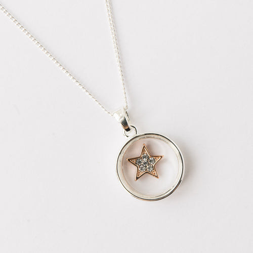 Silver Plated Circle Frame Crystal Star Necklace