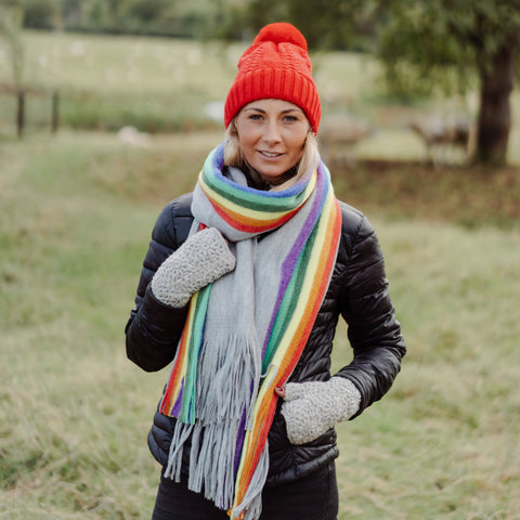 Winter Rainbow Scarf Grey
