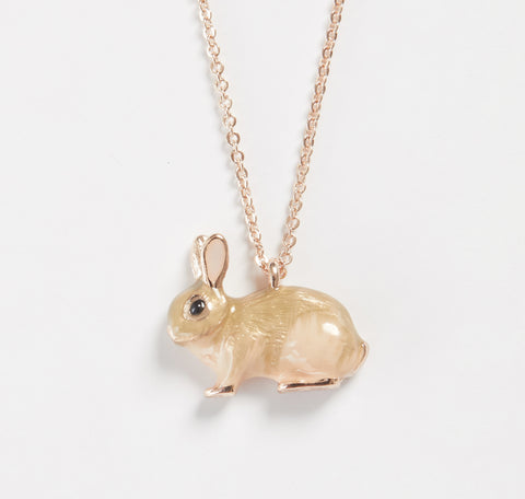 Short Enamel Rabbit Necklace
