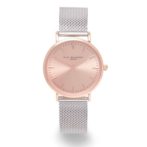 Oxford Watch Silver Mesh & Rose Gold