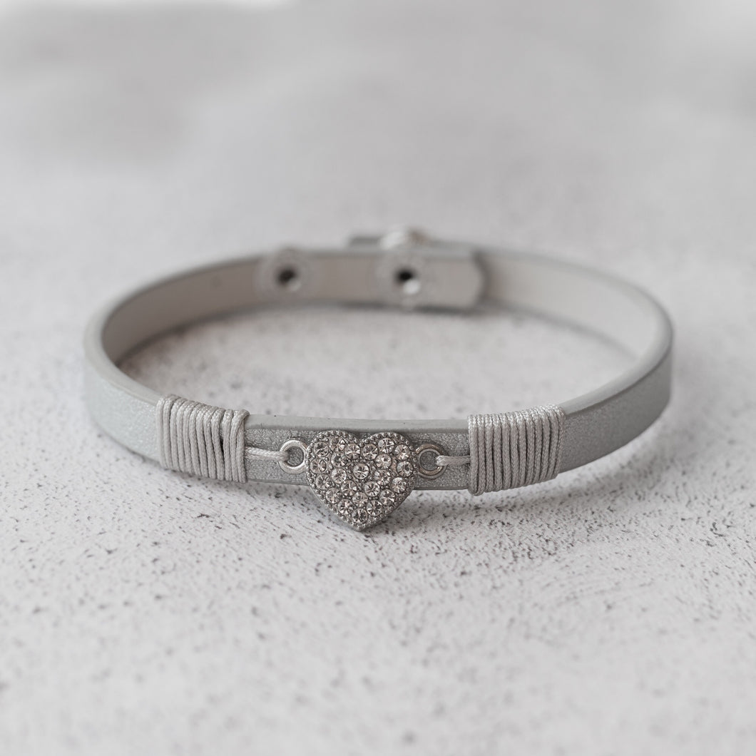 Grey Diamanté Silver Heart Wrap