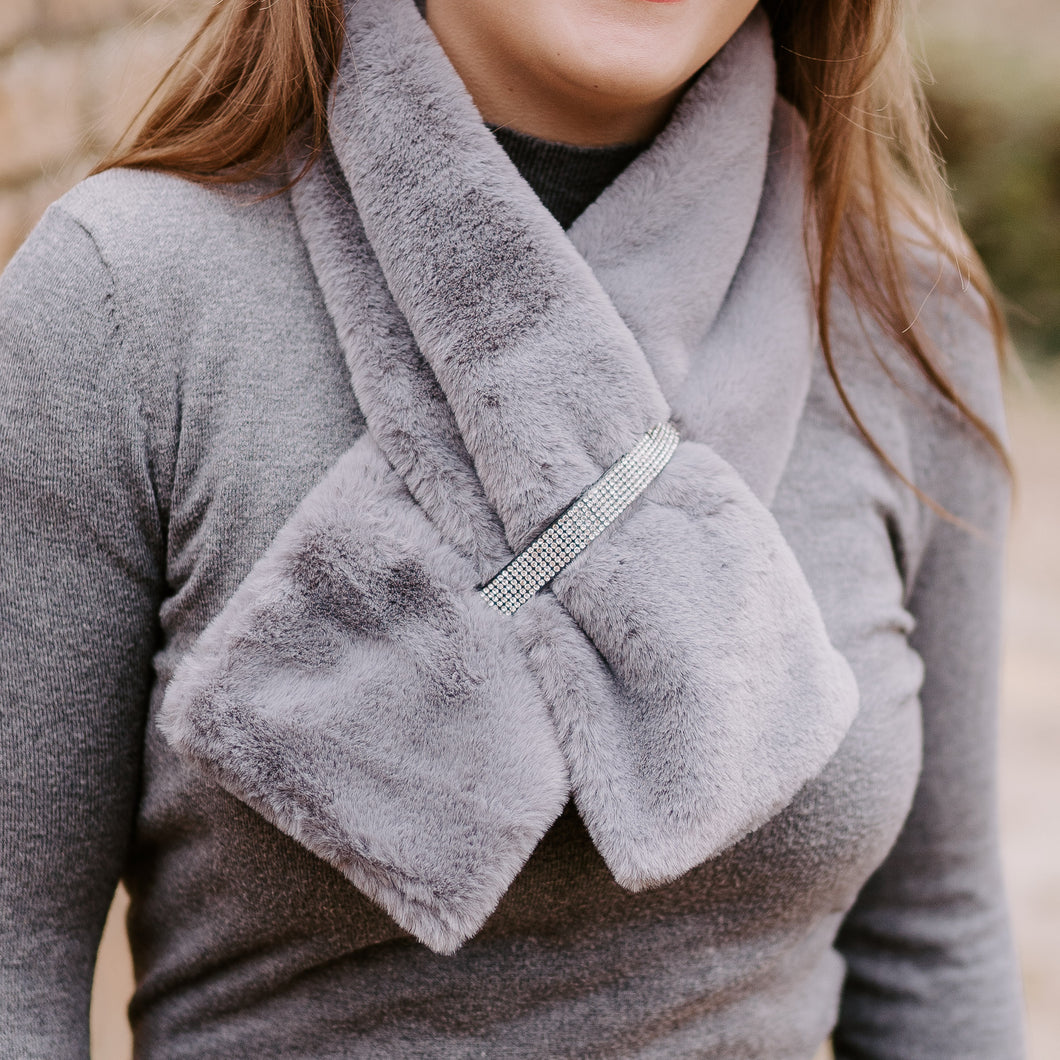 Grey Diamanté Faux Fur Scarf
