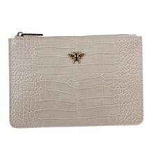 Cream Croc Bee Clutch Bag