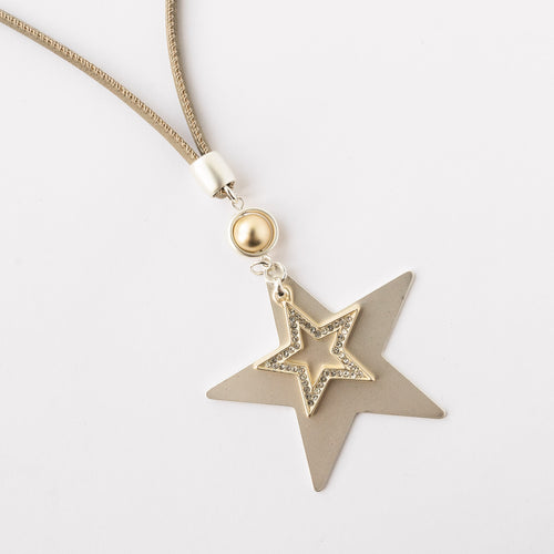 Double Silver and Gold Diamanté Star Necklace