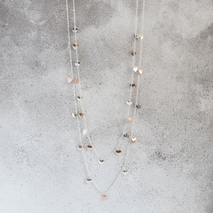 Silver and Rose Gold Heart Charm Long Necklace