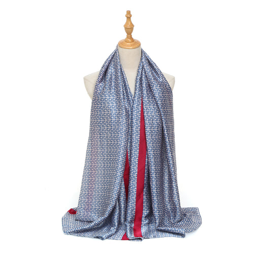 Blue Pattern and Red Stripe Silk Scarf