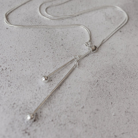 Silver Double Drop Lariat Necklace