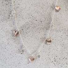 Silver Diamanté Star and Rose Gold Heart Charm Long Necklace
