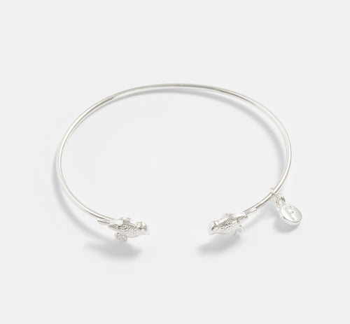Silver Blue Tit Bangle Bracelet