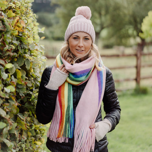 Winter Rainbow Scarf Pink