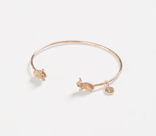 Enamelled Rose Gold Rabbit Bangle Bracelet
