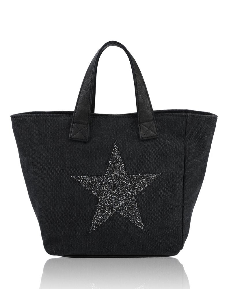 Large Star Tote Bag Black