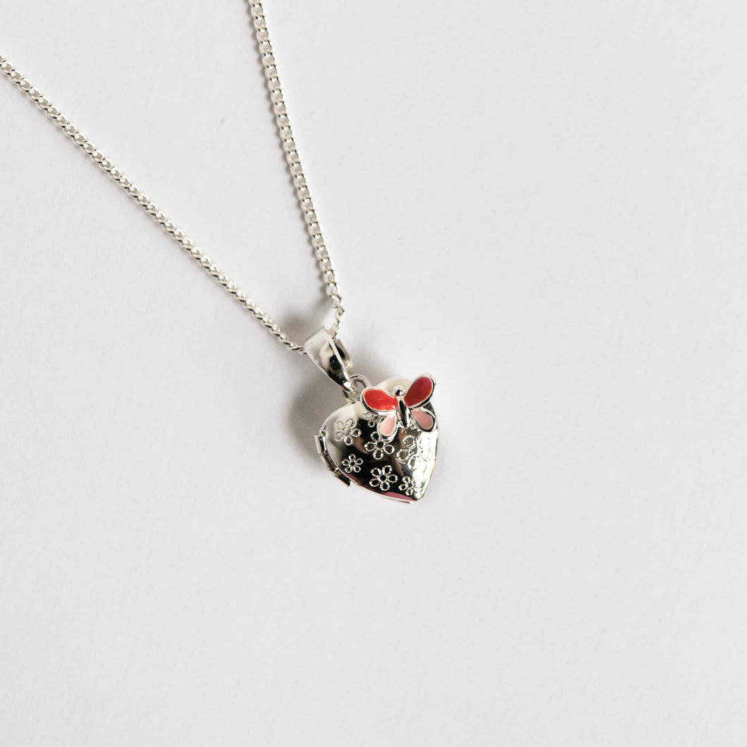 Girls Butterly Heart locket Necklace