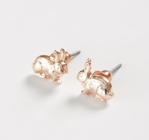 Rose Gold Rabbit Stud Earrings