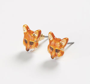 Enamel Fox Stud Earrings