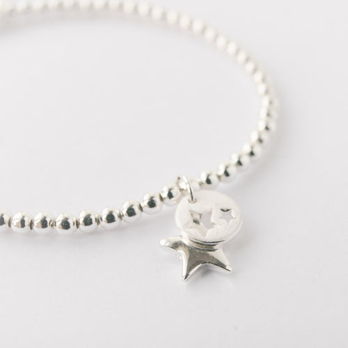 Silver Plated Double Star Charm Bracelet