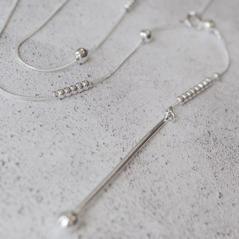 Silver Single Drop lariat Necklace