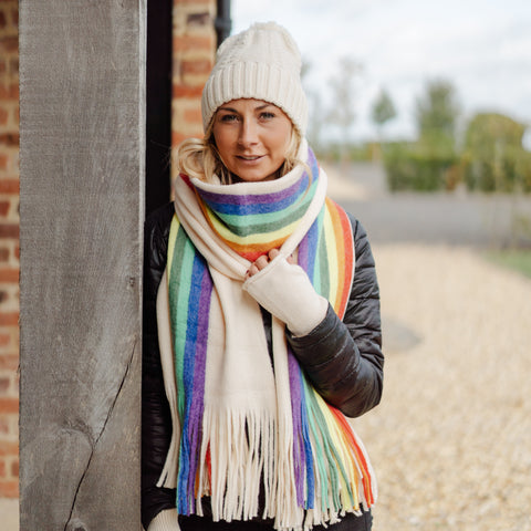 Winter Rainbow Scarf Cream