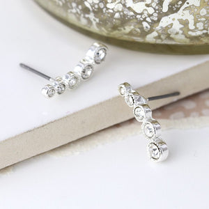 Worn silver multi crystal ear climber stud earrings