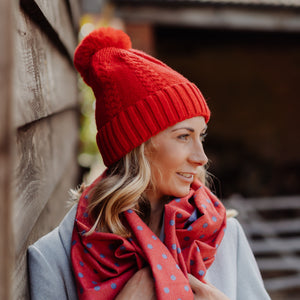 Braided Pom Pom Hat Red