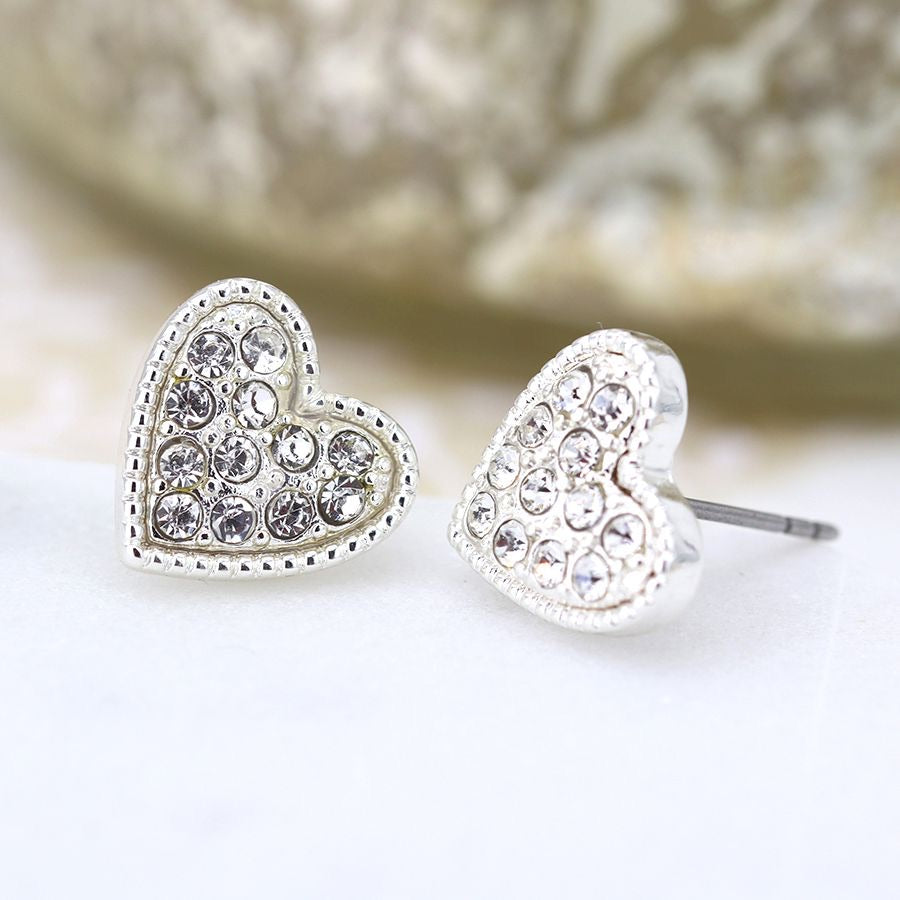 Silver plated heart and crystal stud earrings