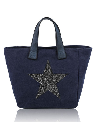 Large Star Tote Bag Navy