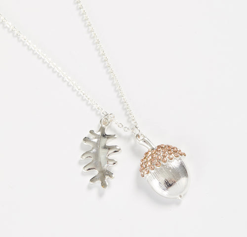 Short  Silver Acorn Necklace