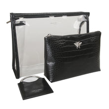 Black Croc Bee Beauty Bag Set