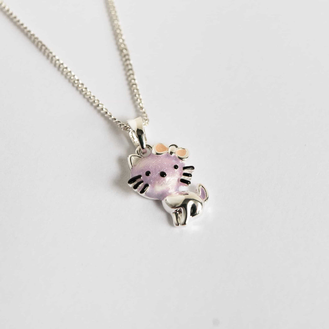 Girls Cute Kitty Lilac Necklace