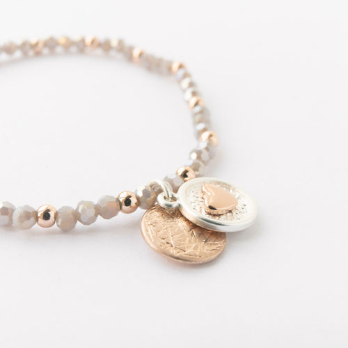 Rose Gold Heart Disc Bracelet